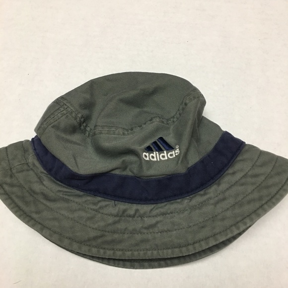 fa188b0d adidas Accessories | Vintage Logo Striped Gray Blue Bucket Hat ...